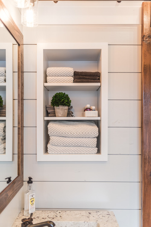 Neutral Modern Farmhouse Bathroom with Recessed Shelves