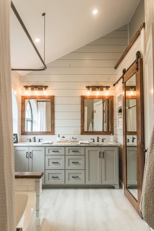 Neutral Modern Farmhouse Bathroom with Shiplap and Wood
