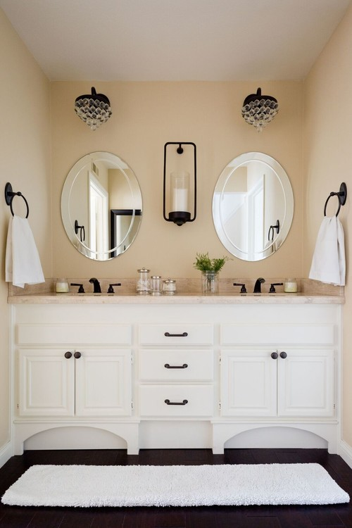 Neutral Modern Farmhouse Bathroom with White Double Sink Vanity