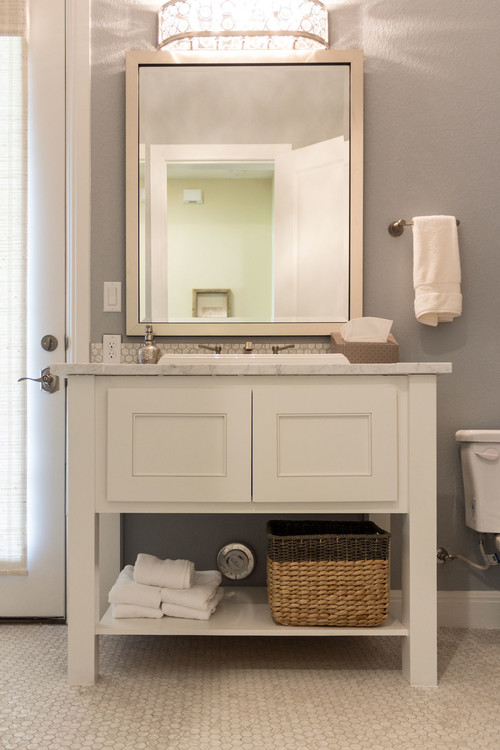 Neutral Modern Farmhouse Bathroom with White Shaker Style Vanity