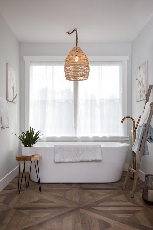 Neutral Modern Farmhouse Bathroom with Wood Decor