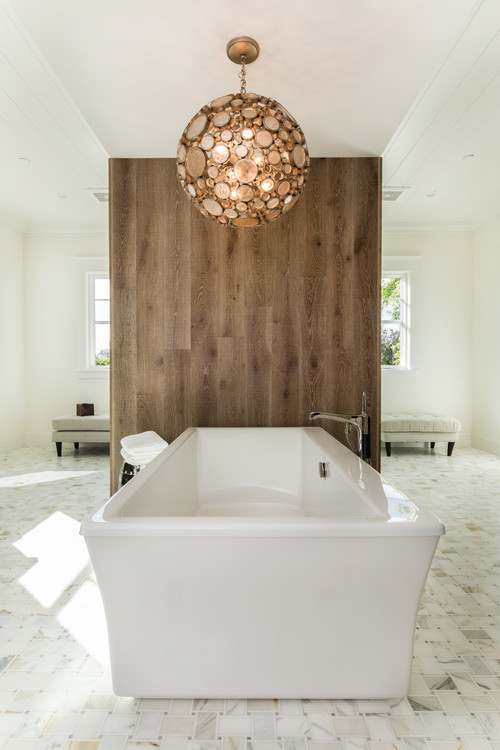 Neutral Modern Farmhouse Bathroom with Wooden Privacy Wall