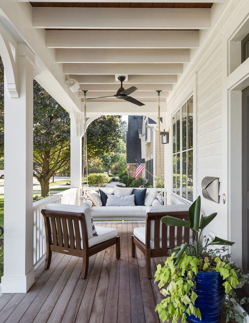 Wood and White Modern Farmhouse Porch