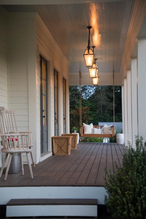 Farmhouse Style Porch with Elegant Lighting