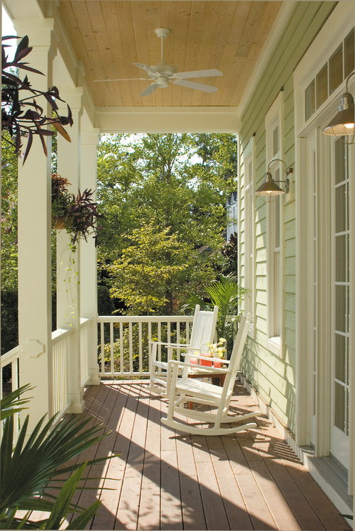 Farmhouse Style Porch with Rocking Chairs