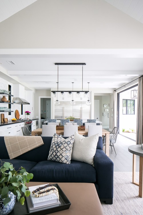 Modern Farmhouse Beach Home Open Concept Living Room