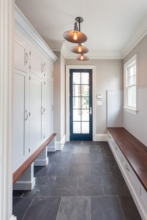 Modern Farmhouse Entryway with Bench and Mudroom Storage