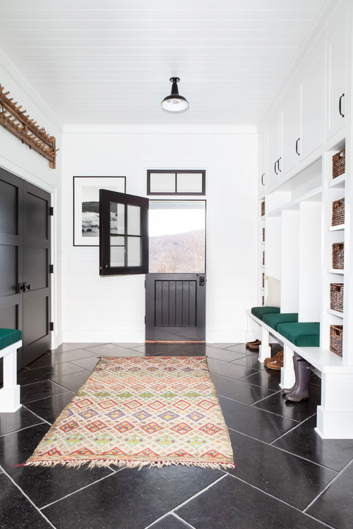 Modern Farmhouse Entryway with Dutch Door and Mudroom Cubbies