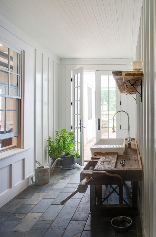 Modern Farmhouse Entryway with Slate Tile Floor