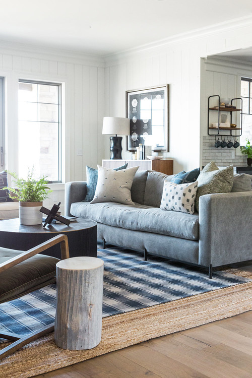 Modern Farmhouse Mountain Home Basement Living Room with Gray Couch
