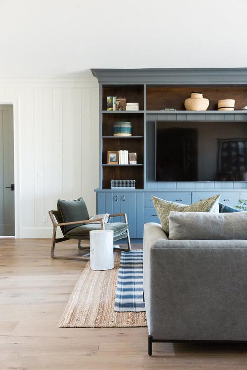 Modern Farmhouse Mountain Home Basement Living Room