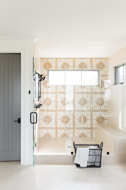 Modern Farmhouse Mountain Home Bathroom Walk-in Shower with Decorative Tile