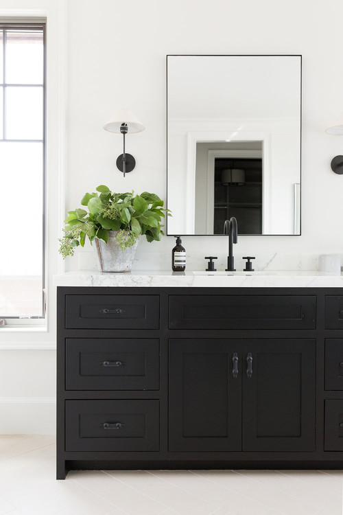 Modern Farmhouse Mountain Home Bathroom with Black Vanity