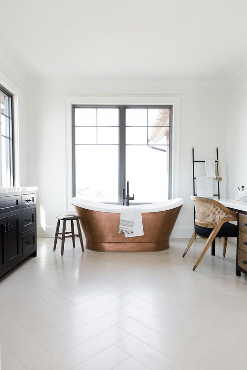 Modern Farmhouse Mountain Home Bathroom with Standalone Copper Bathtub