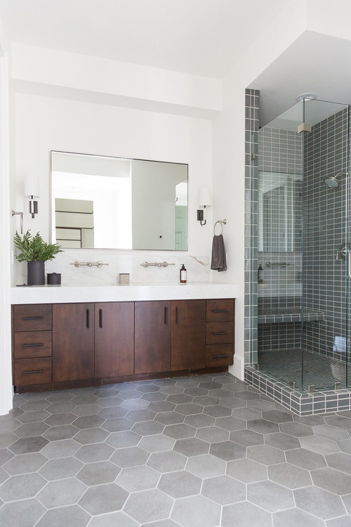 Modern Farmhouse Mountain Home Bathroom with Wooden Vanity, Gray Tiled Shower and Gray Hexagon Floor Tiles