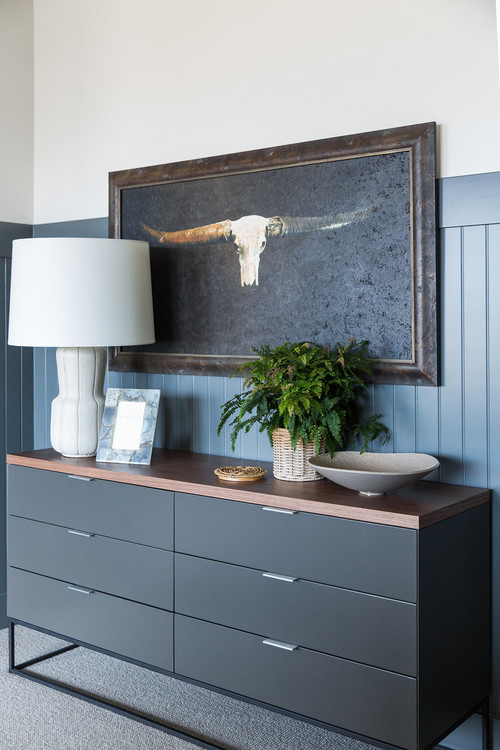Modern Farmhouse Mountain Home Bedroom with Slate Gray Wainscot and Black Dresser