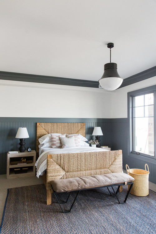 Modern Farmhouse Mountain Home Bedroom with Slate Gray Wainscot