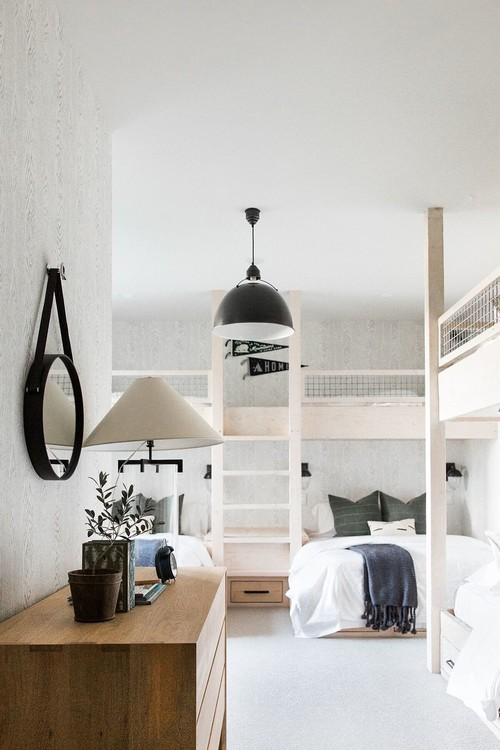 Modern Farmhouse Mountain Home Kids Bedroom with Built-in Wooden Bunk Beds and Wooden Dresser