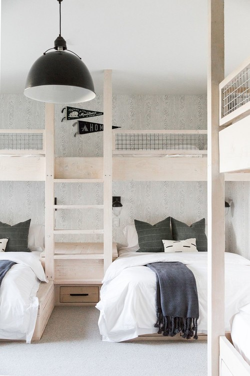 Modern Farmhouse Mountain Home Kids Bedroom with Built-in Wooden Bunk Beds