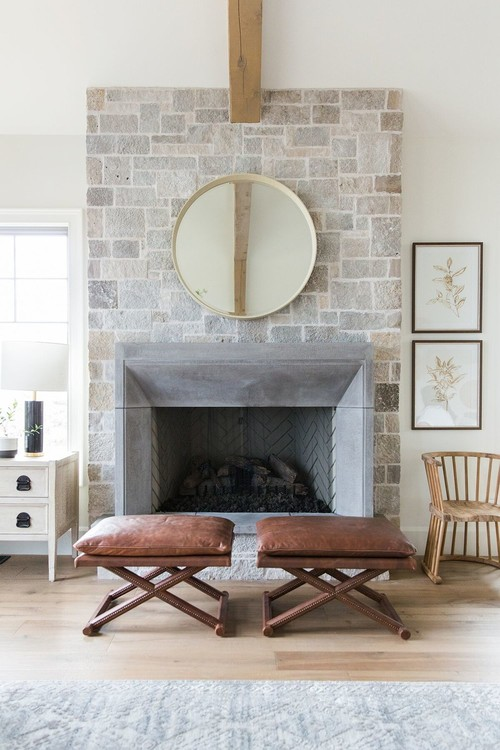 Modern Farmhouse Mountain Home Living Room Brick Fireplace and Leather Stools