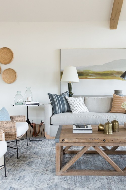 Modern Farmhouse Mountain Home Living Room with Farmhouse Style Wooden Coffee Table