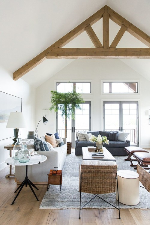 Modern Farmhouse Mountain Home Open Living Room with Wooden Ceiling Beam