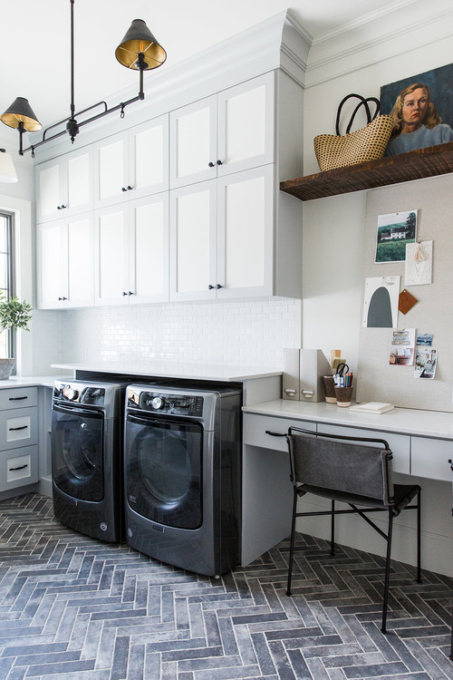 Modern Farmhouse Mountain Home White and Gray Laundry Room and Home Office