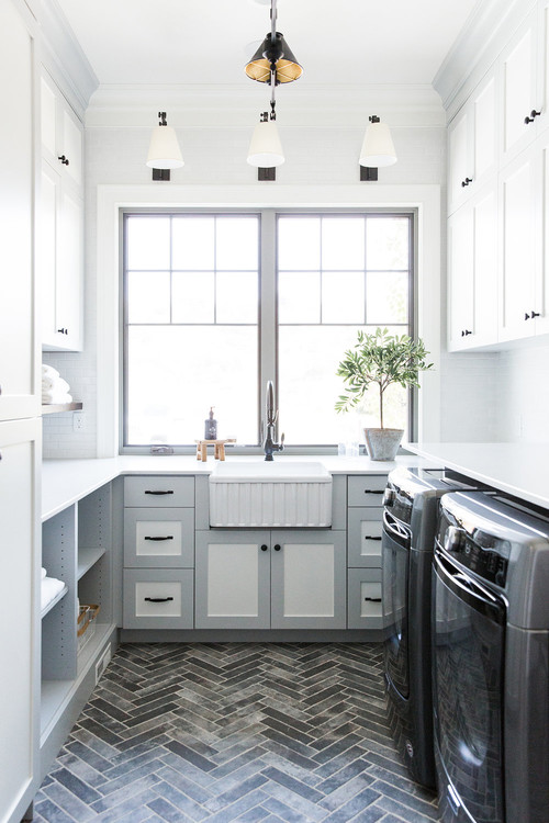 Modern Farmhouse Mountain Home White and Gray Laundry Room with Farmhouse Sink