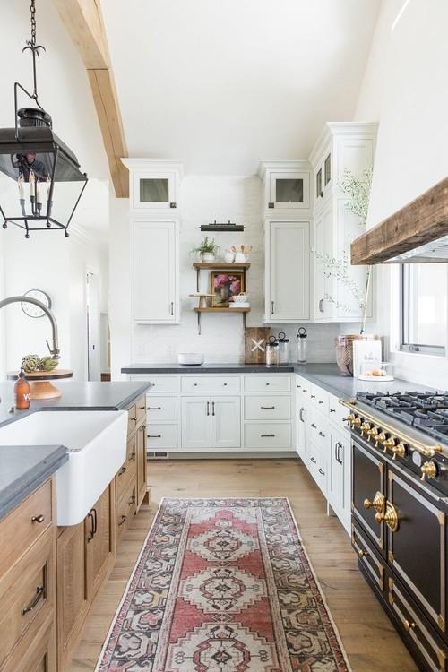 Modern Farmhouse Mountain Home White and Wood Kitchen with Black Vintage Style Range
