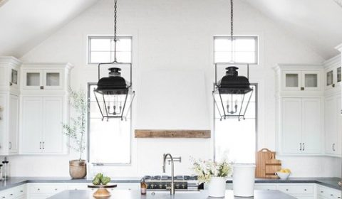 Modern Farmhouse Mountain Home White and Wood Kitchen with Wooden Ceiling Beam