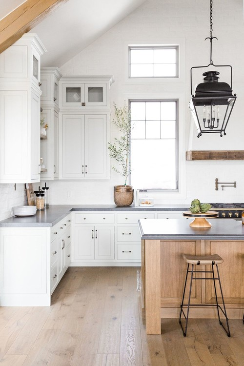 Modern Farmhouse Mountain Home White and Wood Kitchen