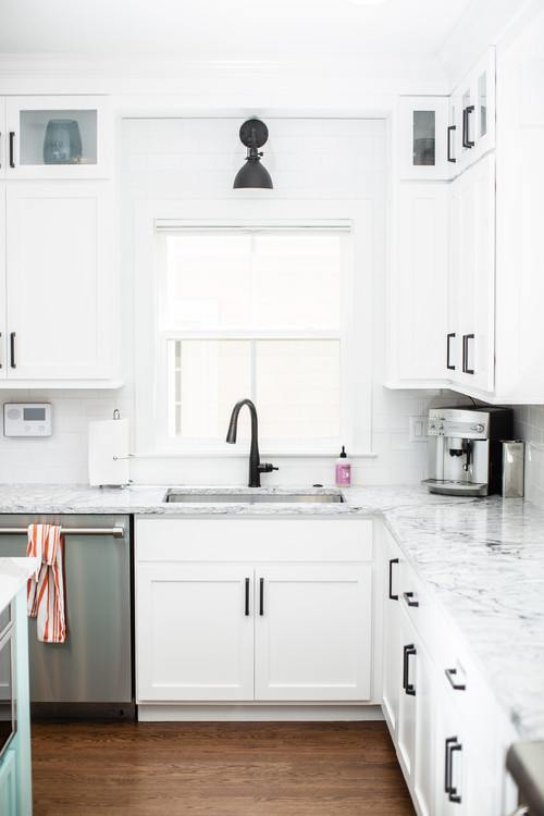 Modern Farmhouse White Kitchen with Black Hardware