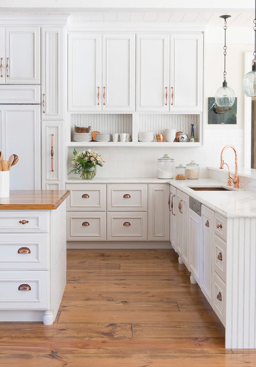Modern Farmhouse White Kitchen with Brass Hardware