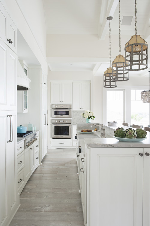 Modern Farmhouse White Kitchen with Driftwood Grey Flooring