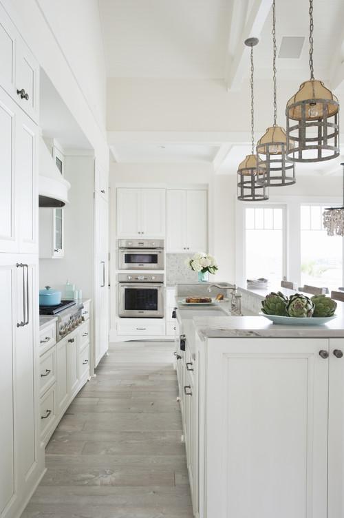 Modern Farmhouse White Kitchen with Driftwood Grey Flooring