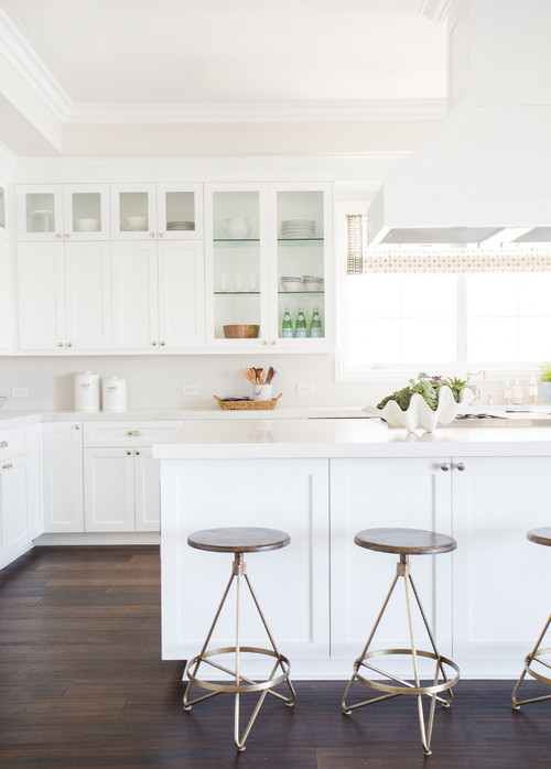Modern Farmhouse White Kitchen with Glass Upper Cabinets