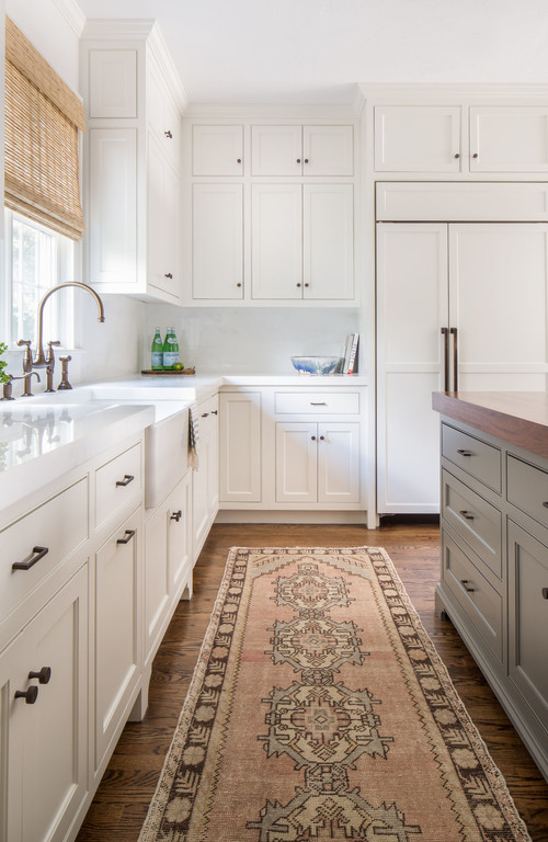 Modern Farmhouse White Kitchen with Gray Island