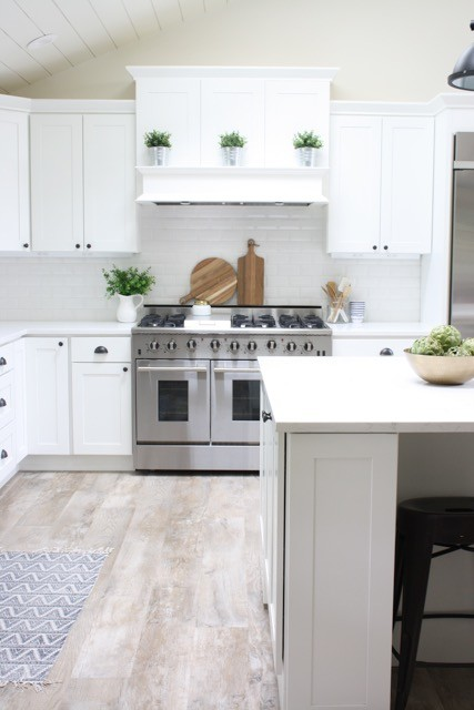 Modern Farmhouse White Kitchen with White Range Hood