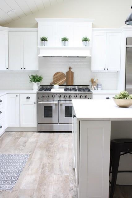 Modern Farmhouse White Kitchen with White Range Hood