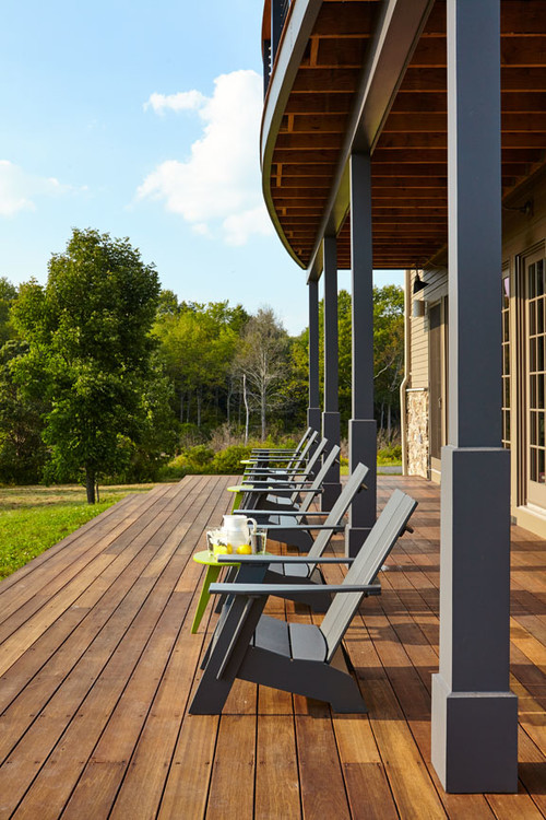 Rustic Farmhouse Style Porch with Adirondack Chairs