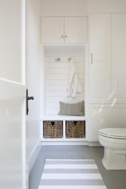 Modern Farmhouse Bathroom with Built-in Shiplap Wall Seat