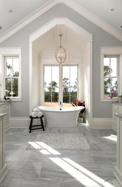 Modern Farmhouse Bathroom with Shiplap Alcove for Bathtub