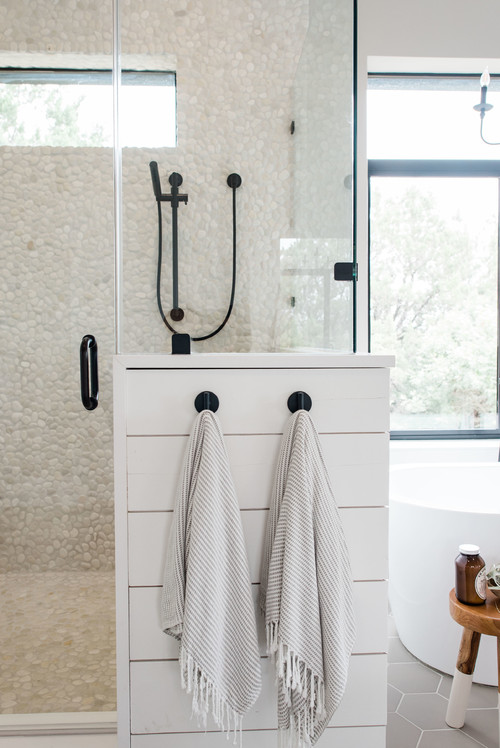 Modern Farmhouse Bathroom with Shiplap Shower Surround