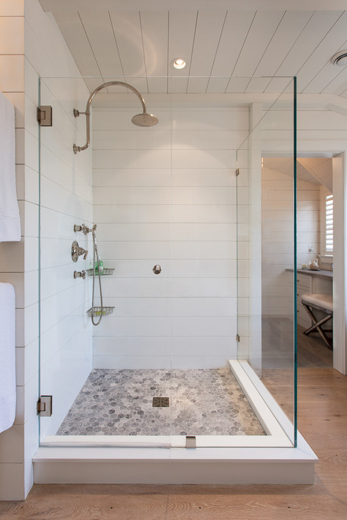 Modern Farmhouse Bathroom with Shiplap Shower Walls