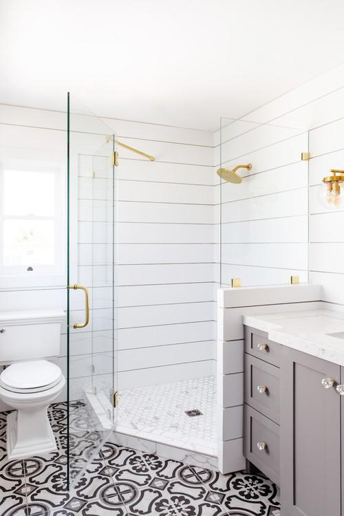 Modern Farmhouse Bathroom with Shiplap Shower