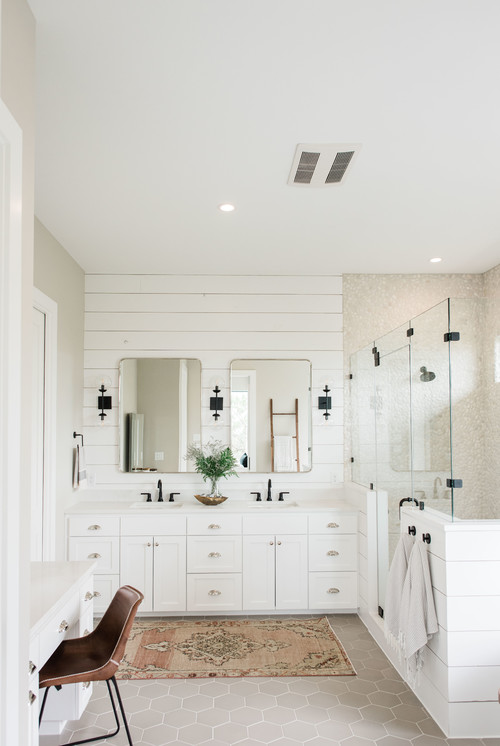 Modern Farmhouse Bathroom with Shiplap Vanity Wall and Shower Surround