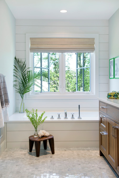 Modern Farmhouse Bathroom with Shiplap Wall and Bathtub Surround