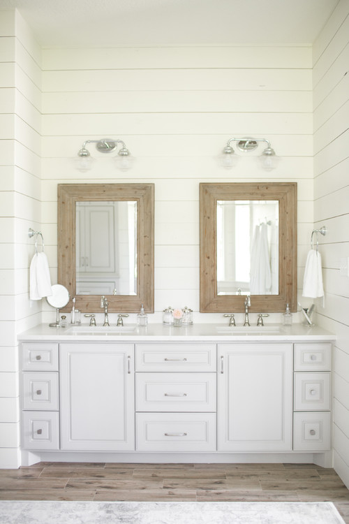 Modern Farmhouse Bathroom with Shiplap Walls Surrounding the Vanity