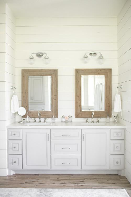 Modern Farmhouse Bathroom with Shiplap Walls Surrounding the Vanity