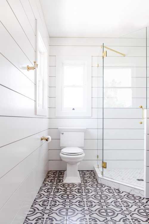 Modern Farmhouse Bathroom with Shiplap Walls and Shower